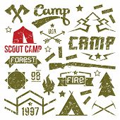 stock photo of wigwams  - Scout camp badges in retro style - JPG