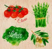 stock photo of paper craft  - Vegetables set drawn watercolor blots and stains with a spray lettuce - JPG