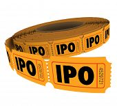 picture of initials  - IPO initial public offering acronym letters on a roll of raffle tickets to illustrate the odds for success in pursuing capital through selling stocks or shares in your company - JPG