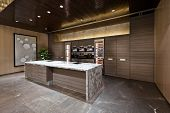 stock photo of canteen  - Kitchen area with marble floor of a show room - JPG