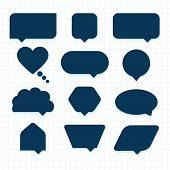 picture of parallelogram  - Assorted empty round corner silhouette speech bubble icons set - JPG