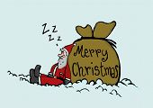 stock photo of sleeping bag  - Sleeping Santa Claus near the gifts bag - JPG
