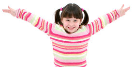 picture of big-girls  - Seven Year Old Girl With Big Smile Over White - JPG