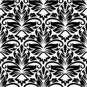stock photo of dainty  - Dainty floral seamless pattern with black diamond flowers for wallpaper or fabric design - JPG