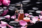 image of stone-therapy  - rose with petals and candle  - JPG