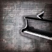 foto of grand piano  - abstract grunge gray music background with grand piano - JPG