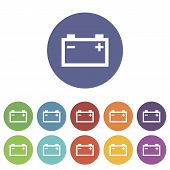 picture of accumulative  - Accumulator web flat icon in different colors - JPG