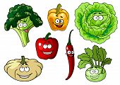 picture of pepper  - Fresh healthy cartoon vegetables characters with beaming smiles including broccoli - JPG