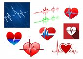 picture of beats  - Red hearts with beat frequency icons and cardiology monitor for medical concept design - JPG