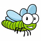 pic of googly-eyes  - Cute little kids cartoon flying dragonfly with a green body and large googly eyes - JPG