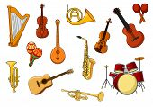 picture of trombone  - Cartoon set of colored musical instrument icons with a harp - JPG