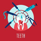 foto of molar tooth  - Teeth and dentistry concept with a cartoon tooth being targeted by dental tools - JPG