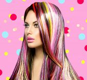 stock photo of colore  - Colorful Hair and Makeup - JPG