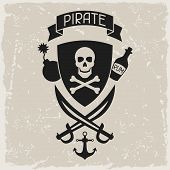 picture of cannonball  - Background on pirate theme with objects and elements - JPG
