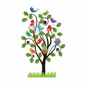 pic of fanny  - Colorful background with fanny birds and leaves - JPG