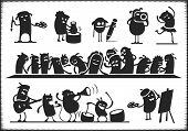 stock photo of merge  - Characters singing dancing playing and painting - JPG
