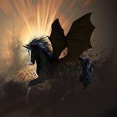 stock photo of unicorn  - Beautiful dark unicorn with awesome light effect - JPG
