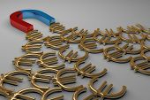 picture of horseshoe  - Blue and red glossy horseshoe or U shape magnet attracting many golden euro signs lying on gray background - JPG