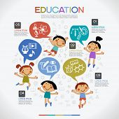 image of cartoon character  - Infographics education background - JPG