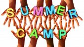 pic of team  - Summer camp kids as multiethnic school chldren with open hands holding letters as a symbol of recreation and fun education with a group working as a team for learning success - JPG