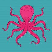image of octopus  - Purple isolated cartoon octopus in water - JPG