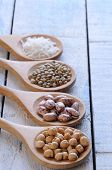 picture of legume  - Legumes on wooden table in the kitchen - JPG