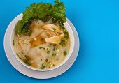 picture of glass noodles  - Glass noodle soup with chicken and beansprouts on a blue background - JPG