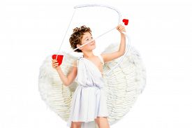 picture of cupid  - Lovely emotional little boy in a costume of angel - JPG