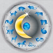 picture of oxen  - Chainese Zodiac Sign on the moon content with 12 animal sign start with rat then ox  - JPG