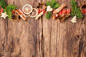 stock photo of christmas spices  - Baking concept background with spices and utensils for Christmas cookies - JPG