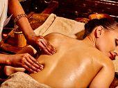 foto of panchakarma  - Young woman having Indian spa treatment - JPG