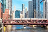 picture of willy  - Chicago downtown and River with bridges - JPG