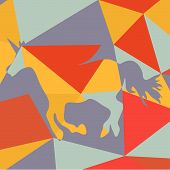 foto of wild horse running  - Geometrical background with a beautiful running unicorn  horse silhouette - JPG