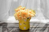 picture of chrysanthemum  - Beautiful chrysanthemums in pitcher on fabric background - JPG