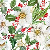 stock photo of christmas flower  - Beautiful vector pattern with nice watercolor christmas flowers - JPG