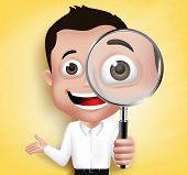 stock photo of professor  - 3D Realistic School Boy or Professor Holding Magnifying Glass Looking for Discovery in Yellow Background - JPG