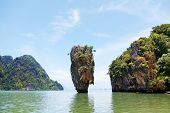 image of james bond island  - Khao Phing Kan is a pair of islands on the west coast of Thailand in the Phang Nga Bay Andaman Sea near Phuket - JPG
