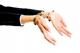 picture of handcuff  - Arrested businesswoman hands with handcuffs - JPG