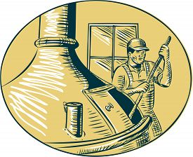 stock photo of brew  - Etching engraving handmade style illustration of a brewmaster brewer stirring the brew in brew kettle at brewery set inside oval - JPG