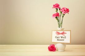 foto of carnations  - Get well soon message with pink carnations in a white vase - JPG
