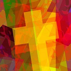 picture of christianity  - Abstract dramatic illustration of christian cross in cubism - JPG