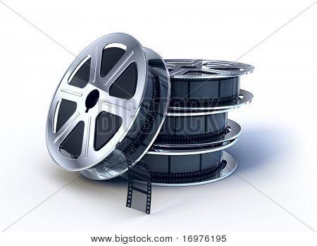 Постер, плакат: Стек кино фильмы катушку с пленкой, холст на подрамнике