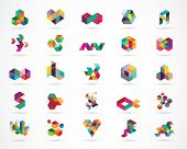 Creative, digital abstract colorful icons, elements and symbols, logo collection, template poster