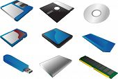foto of memory stick  - Storage media vector illustrations 3d isometric style - JPG