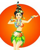 pic of hula dancer  - Vector illustration of hula dancer with garlands of flower - JPG