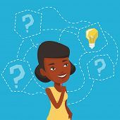 An african-american woman having business idea. Business woman standing with question marks and idea poster