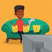 An african-american man playing video game. Excited man with console in hands playing video game at  poster