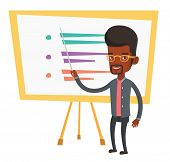 An african teacher standing in front of board with a pointer. Teacher standing with a pointer in cla poster
