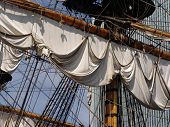 stock photo of yardarm  - Rigging sailsyardarm and mast on old sailing ship - JPG
