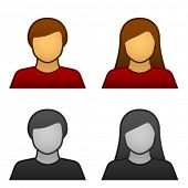 vector male female avatar icons